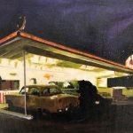 Benzinaio, olio su tela, 19,5x24,5