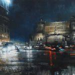 Piazza Venezia, olio su tela, cm 100x150