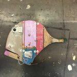 Pesce provenzale da parte di babbo, scultura in legno di recupero, cm 30x50