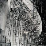 Hindenburg Zeppelin in costruzione, olio su tavola di formica, cm 105x65