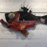 Scorphano Impaziente, scultura in legno di recupero, cm40x60
