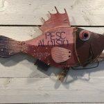 Pesce Aloisio, scultura in legno di recupero, cm 27x46