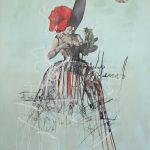 Donne Vascello Le Rose, mista su tela, cm 100x70