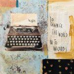 to change the world, collage e acrilico su tavola, cm 30x30