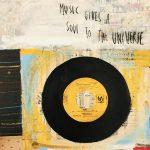 Music gives a soul, collage e acrilico su tavola, cm 30x30