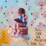 Books train, mista su tavola, cm 30x30