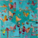 Butterflies, mista su tela, cm 96x96