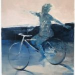 Blue and pink bicycle, olio su carta, cm 52x33