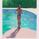 By the swimming pool, olio su carta, cm 30x25