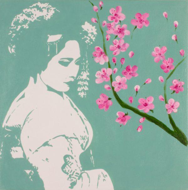 Geisha and Cherry Bloss, acrilico su tela. cm 50x50
