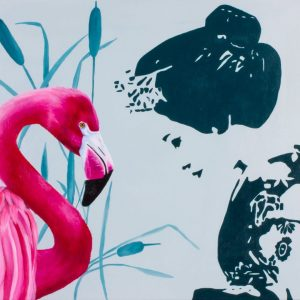 Geisha and Pink Flamingo, cm 50x60