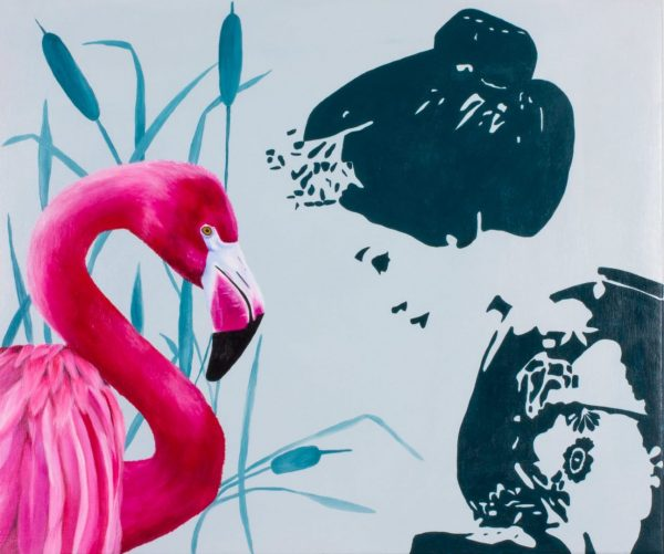 Geisha and Pink Flamingo, cm 50x60