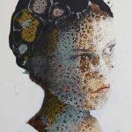 La bambina che guarda oltre, mista su tela, cm 122x83