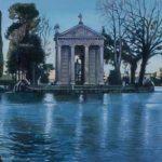 Villa Borghese, olio su tela, cm 25x70
