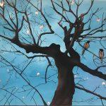 Birds on Cherry tree, mista su tela, cm 100x120