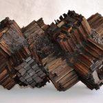 Occhi materici, scultura in legno di recupero, cm 53x32x32